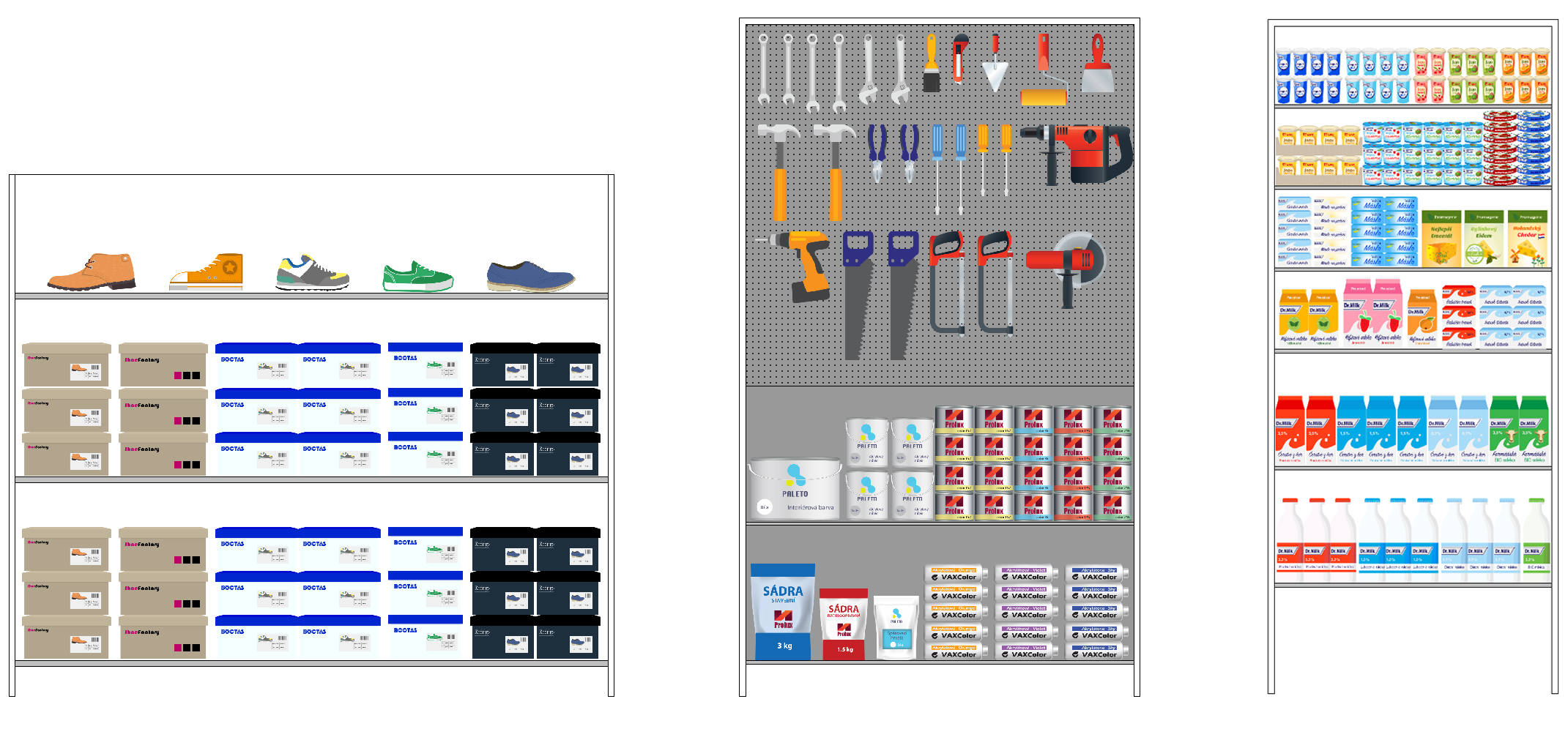 Shoes, Tools and Food Planograms